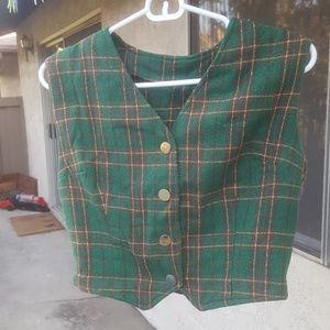 Jackets & Blazers - Green & Plaid Vintage Vest